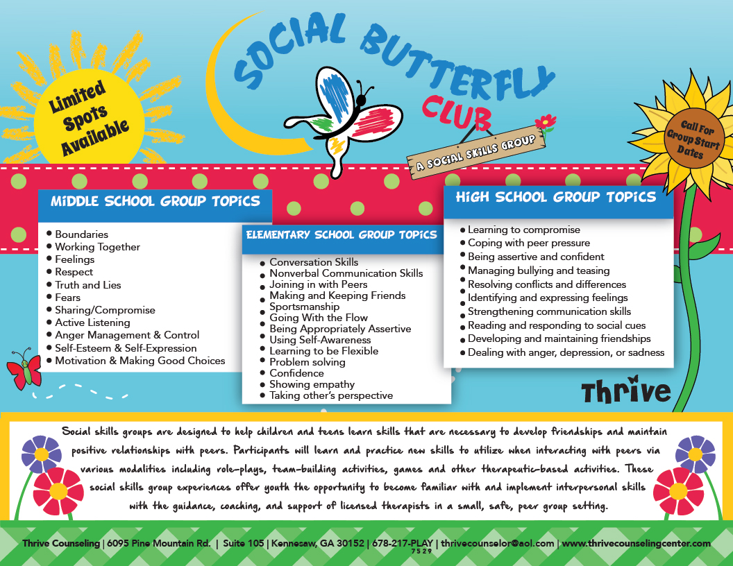 the social butterfly club social skills group a flyer to learn more